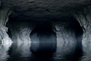 underground river in a dark stone cave, unknown