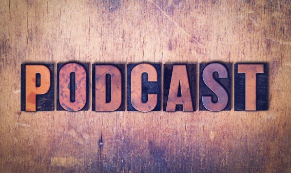 Podcast Theme Letterpress Word on Wood Background